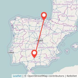 Mapa del viaje Bilbao Córdoba en tren