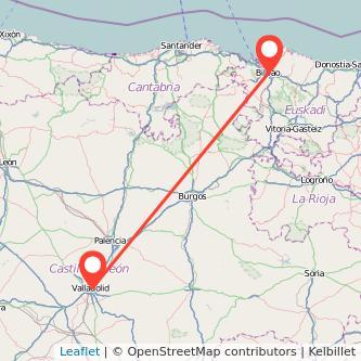 Mapa del viaje Bilbao Valladolid en tren