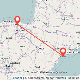 Mapa del viaje Bilbao Tarragona en tren