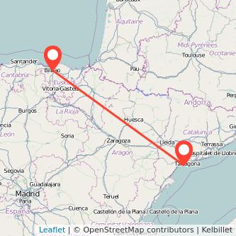 Mapa del viaje Bilbao Salou - Port Aventura en tren