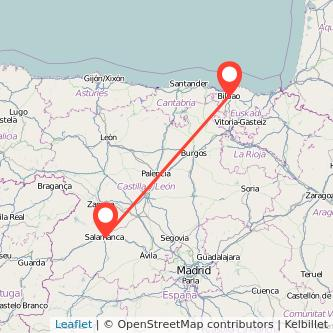 Mapa del viaje Bilbao Salamanca en tren