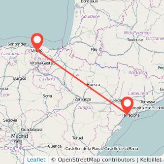 Mapa del viaje Bilbao Reus en tren