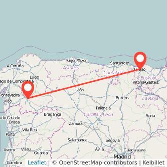 Mapa del viaje Bilbao Ourense en tren