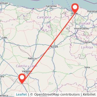 Mapa del viaje Bilbao Medina del Campo en tren