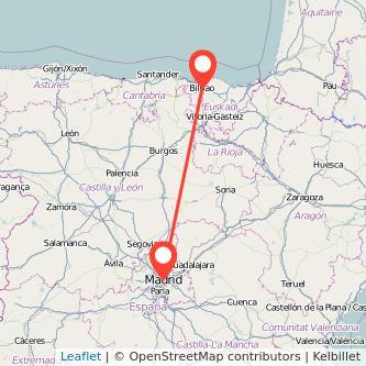Mapa del viaje Bilbao Madrid en bus