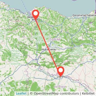 Mapa del viaje Bilbao Logroño en tren