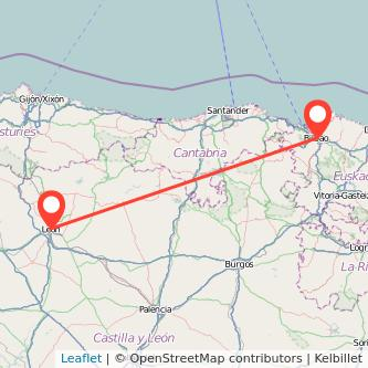 Mapa del viaje Bilbao León en bus