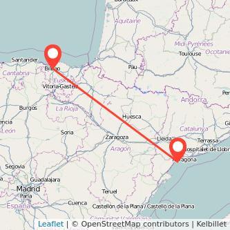 Mapa del viaje Bilbao Cambrils en tren