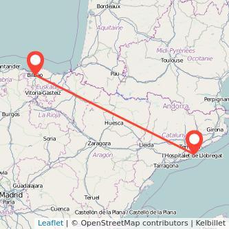Mapa del viaje Bilbao Barcelona en bus