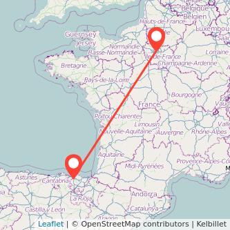 Mapa del viaje Bilbao París en tren
