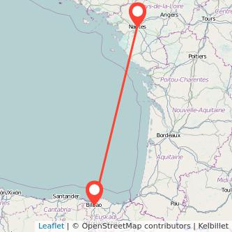 Mapa del viaje Bilbao Nantes en bus