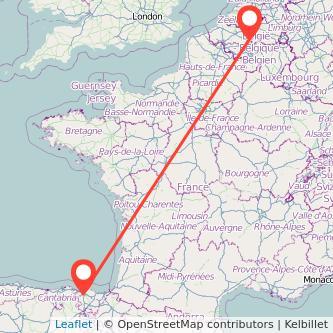 Mapa del viaje Bilbao Bruselas en bus