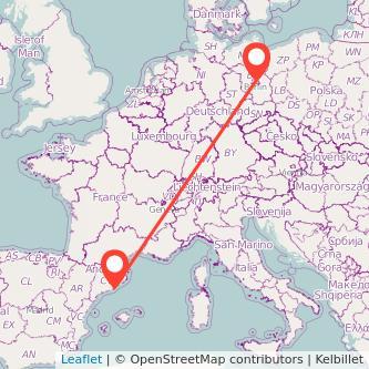 Barcelona Berlin train map
