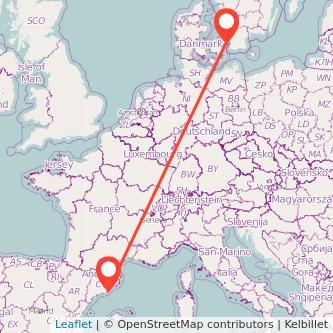 Barcelona Copenhagen train map