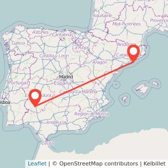 Mapa del viaje Barcelona Zafra en bus
