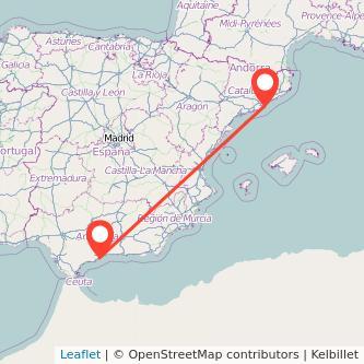 Mapa del viaje Barcelona Torremolinos en bus