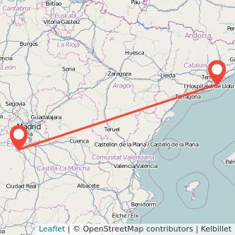 Mapa del viaje Barcelona Toledo en tren
