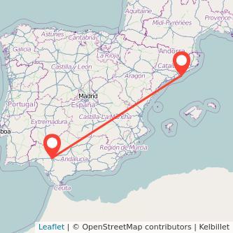 Mapa del viaje Barcelona Sevilla en bus