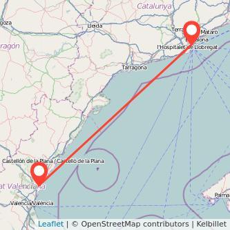 Mapa del viaje Barcelona Sagunto en tren
