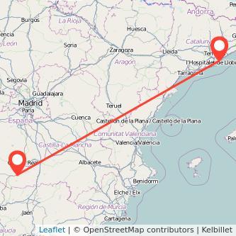 Mapa del viaje Barcelona Puertollano en tren