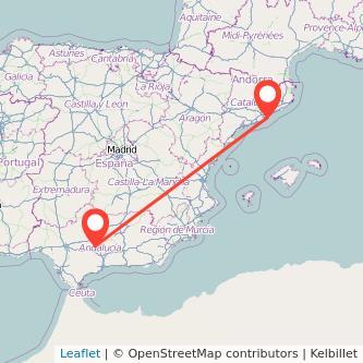 Mapa del viaje Barcelona Puente-Genil en tren