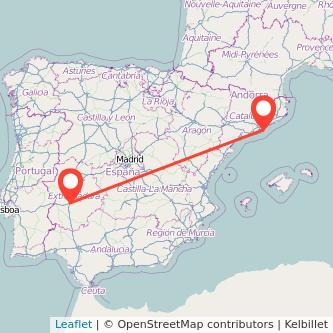 Mapa del viaje Barcelona Mérida en bus
