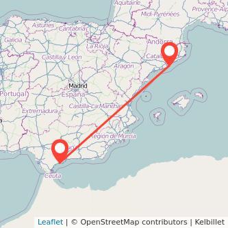Mapa del viaje Barcelona Marbella en bus