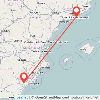 Mapa del viaje Barcelona Lorca en tren
