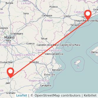 Mapa del viaje Barcelona Linares en tren