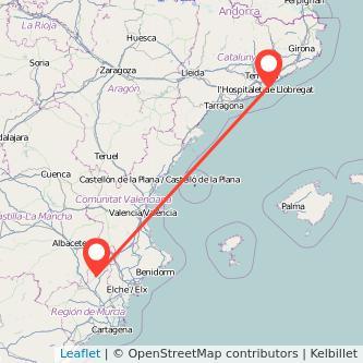 Mapa del viaje Barcelona Jumilla en bus