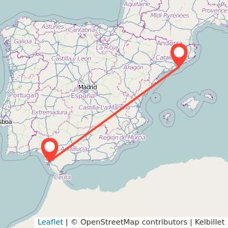 Mapa del viaje Barcelona Jerez de la Frontera en bus