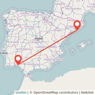 Mapa del viaje Barcelona Huelva en bus