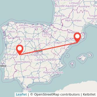 Mapa del viaje Barcelona Coria en bus