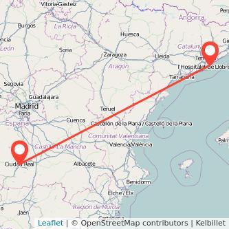 Mapa del viaje Barcelona Ciudad Real en tren