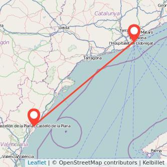 Mapa del viaje Barcelona Castellón en bus