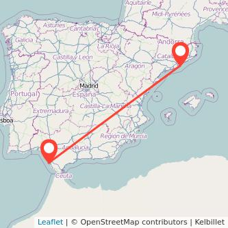 Mapa del viaje Barcelona Cádiz en tren
