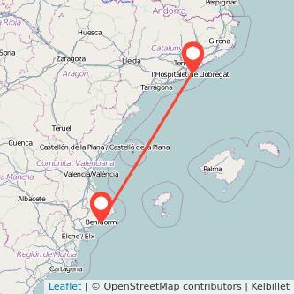 Mapa del viaje Barcelona Benidorm en bus