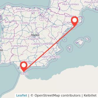 Mapa del viaje Barcelona Algeciras en bus