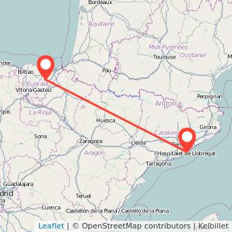 Mapa del viaje Barcelona Zumarraga en tren