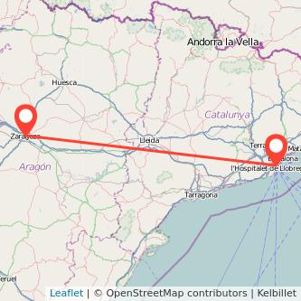 Mapa del viaje Barcelona Zaragoza en bus