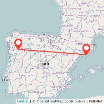 Mapa del viaje Barcelona Verín en bus