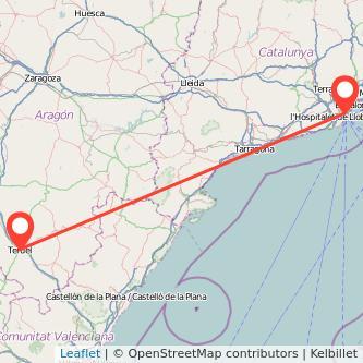 Mapa del viaje Barcelona Teruel en bus