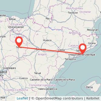 Mapa del viaje Barcelona Soria en bus
