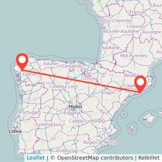 Mapa del viaje Barcelona Santiago de Compostela en bus