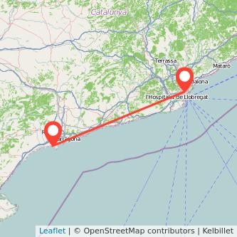 Mapa del viaje Barcelona Salou - Port Aventura en tren