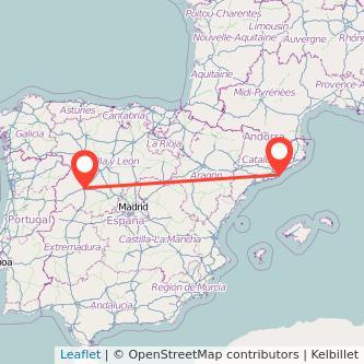 Mapa del viaje Barcelona Salamanca en bus