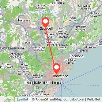 Mapa del viaje Barcelona Sabadell en tren