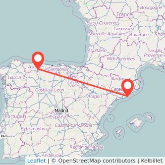Mapa del viaje Barcelona Pola de Lena en tren