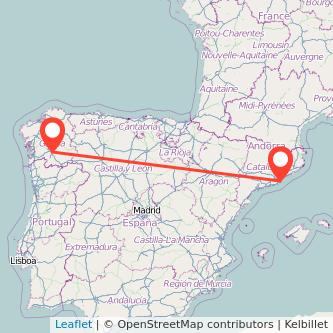 Mapa del viaje Barcelona Ourense en bus