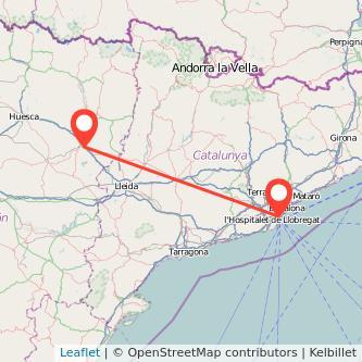 Mapa del viaje Barcelona Monzón en bus